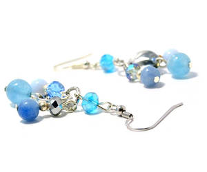 etsy, blue crystal, and gemstone earrings image