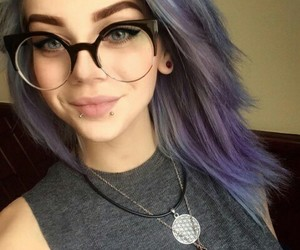 blue eyes, purple hair, and earrings image