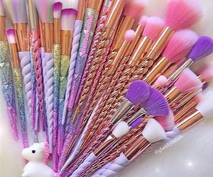Brushes, unicorn, and makeup image