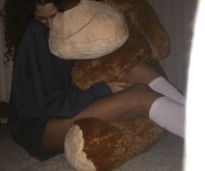 high knee socks, giant teddy bear, and cute image