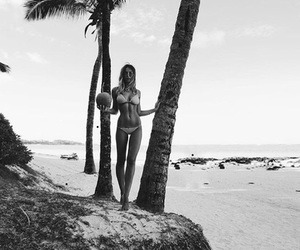 summer, black and white, and beach image