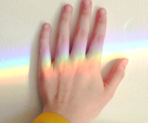 colors, hand, and unicorn image