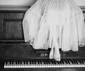 piano, girl, and dress image