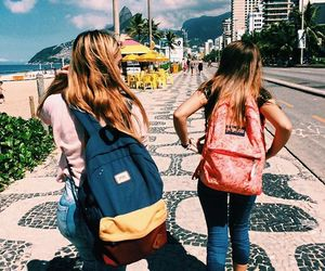 beach, school, and friends image