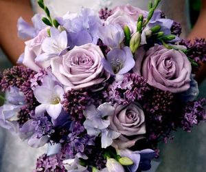 flowers, wedding, and purple image