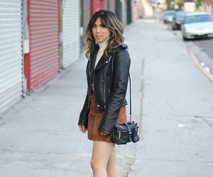 leather jacket and suede skirt image