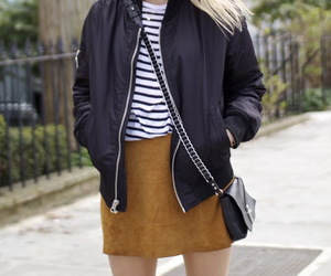 suede skirt and leather jacket image