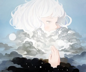 anime girl, silver hair, and clouds image