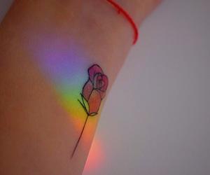 rainbow, rose, and tattoo image