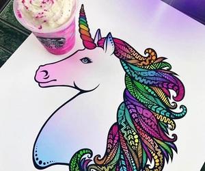 art, unicorn, and zentangle image