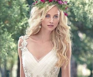 embellishment, wedding dress, and white image