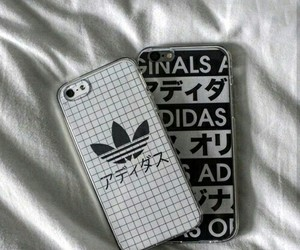 adidas, black and white, and iphone image