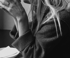 black and white, hair, and coffee image
