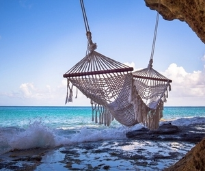 sea, summer, and hammock image