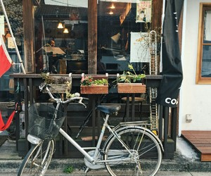 bike, cafe, and japan image