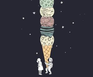 space, ice cream, and astronaut image