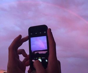 sky, iphone, and purple image