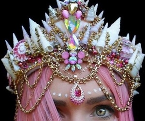 crown, mermaid, and pink image