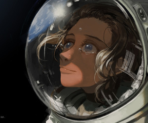 art, astronaut, and space image