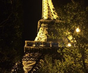 eiffel tower, night, and yellow image