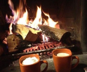 fire, coffee, and fall image