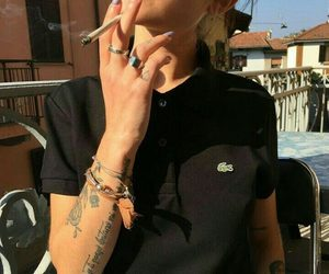 girl, tattoo, and cigarette image