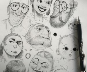 art, drawing, and faces image