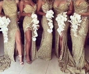 gold, wedding, and dress image