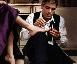 george clooney, nails, and woman image