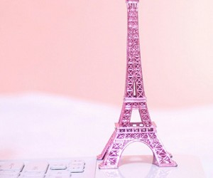 paris, pink, and eiffel tower image