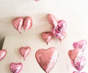pink, balloons, and hearts image