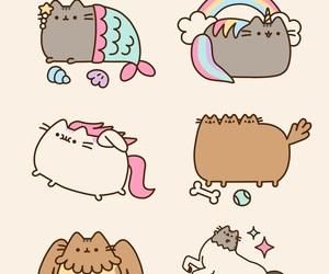 cat, pusheen, and unicorn image