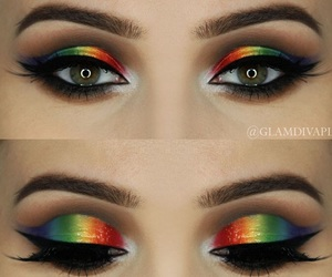 makeup, rainbow, and cool image