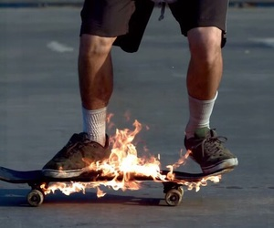fire, skate, and theme image