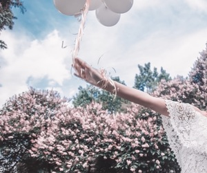 balloons, cherry blossom, and flowers image