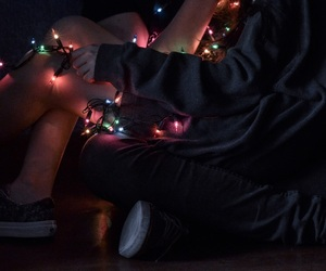 colors, couple, and fairy lights image