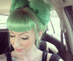 green, tattoo, and hair color image