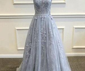 dress, prom dress, and grey party dress image