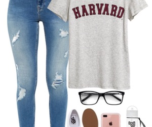 glasses, harvard, and jeans image