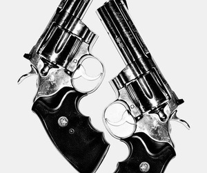 gun, black and white, and cool image