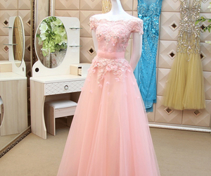 evening dress, pink dress, and Prom image