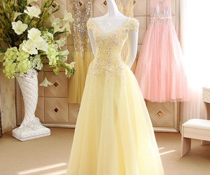 evening dress, pastel color, and cap sleeves image
