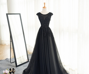 black dress, evening dress, and fashion image