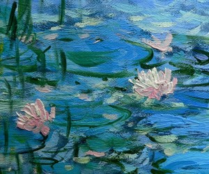 flowers, blue, and monet image