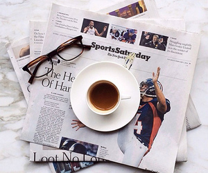coffee, morning, and newspaper image