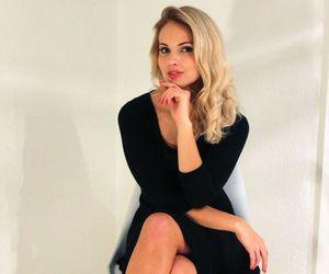 black dress, blonde, and curls image