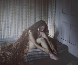 brown hair, soft, and dark image