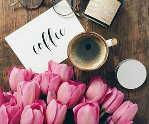 flowers, coffee, and tulips image