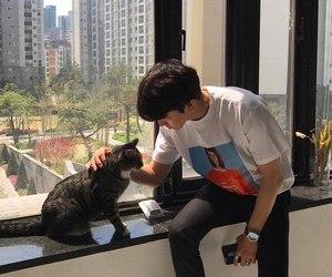 boy, ulzzang, and cat image