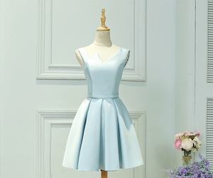cocktail dress, pale blue, and party image
